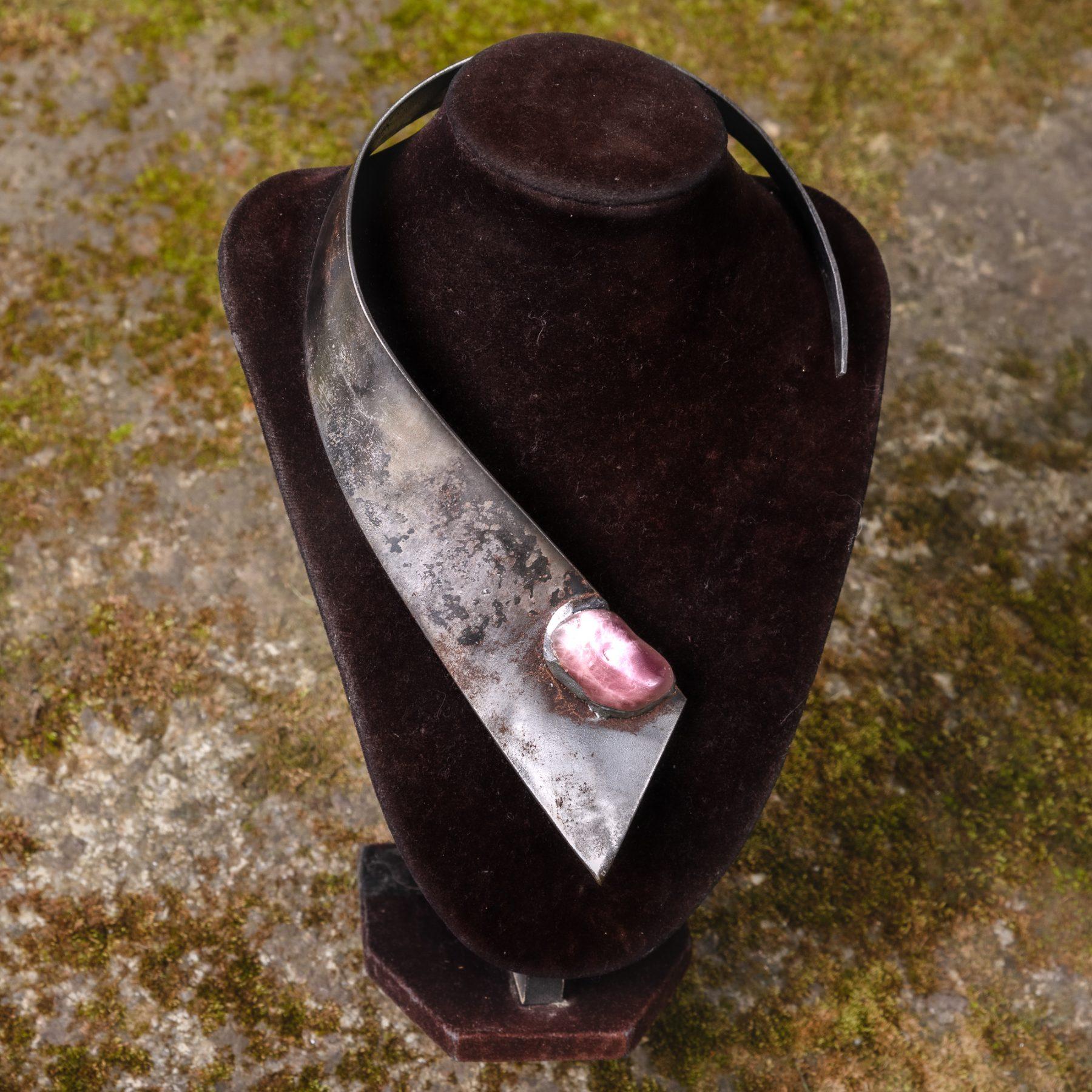 Amethyst Gem Stone on a Steel Necklace