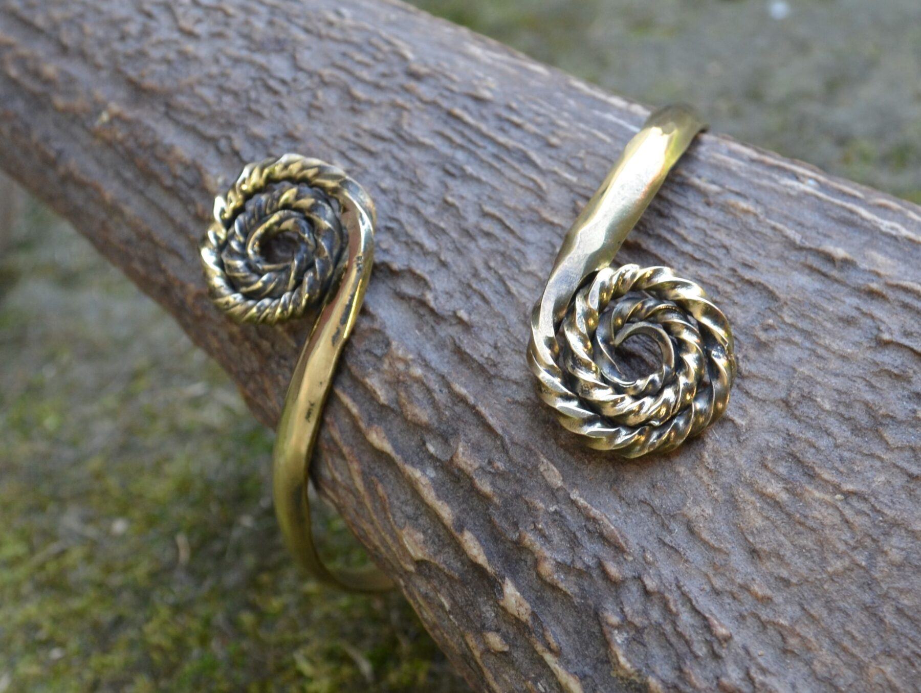 Brass Bracelet with Celtic Spirals